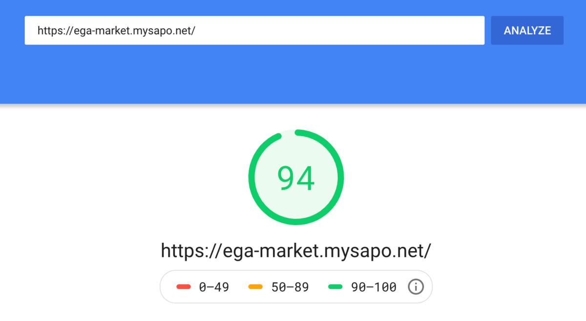 Tốc độ tải trang cao EGA Market (Sapo)